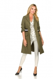 Atos Lombardini |  Trench coat with striped detail Olivia | green  | Picture 3