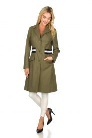 Atos Lombardini |  Trench coat with striped detail Olivia | green  | Picture 4