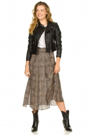 Set |  Animal printed maxi skirt Mizzy | black  | Picture 3