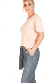 Knit-ted | Linnen T-shirt Brechtje | nude  | Afbeelding 4
