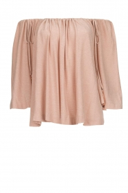Off-shoulder top with lurex Lauretta | nude