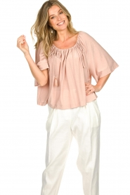 Atos Lombardini |  Off-shoulder top with lurex Lauretta | nude  | Picture 4
