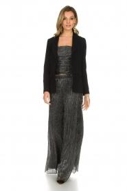 Atos Lombardini |  Flared plissé pants with glitters Sophia | black  | Picture 3