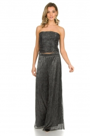Atos Lombardini |  Flared plissé pants with glitters Sophia | black  | Picture 2
