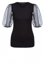 Set |  Top with organza sleeves Lesli | black  | Picture 1