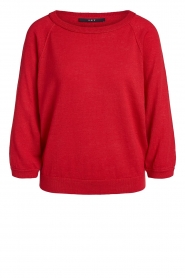 Set |  Linen sweater with boatneck Inge | red  | Picture 1