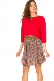 Set |  Linen sweater with boatneck Inge | red  | Picture 4