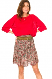 Set |  Linen sweater with boatneck Inge | red  | Picture 2