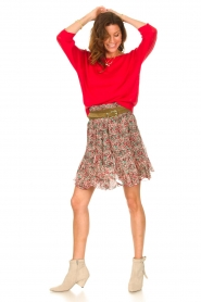 Set |  Linen sweater with boatneck Inge | red  | Picture 3