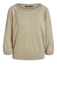 Set |  Linen sweater with boatneck Inge | beige  | Picture 1