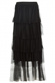 Atos Lombardini |  Tulle maxi skirt with pleats Becca | black   | Picture 1