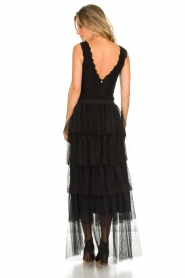 Atos Lombardini |  Tulle maxi skirt with pleats Becca | black   | Picture 5