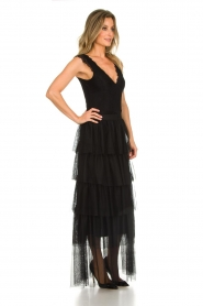 Atos Lombardini |  Tulle maxi skirt with pleats Becca | black   | Picture 4