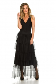 Atos Lombardini |  Tulle maxi skirt with pleats Becca | black   | Picture 2