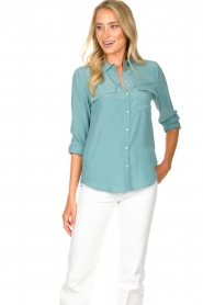 Set |  Silk blouse with pockets Jane | blue  | Picture 4