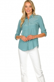 Set |  Silk blouse with pockets Jane | blue  | Picture 2