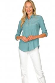 Set | Zijden blouse met zakken Jane | blauw  | Afbeelding 2