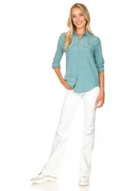 Set | Zijden blouse met zakken Jane | blauw  | Afbeelding 3