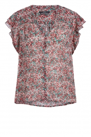 Set |  Blouse with floral print Tye | red  | Picture 1