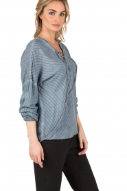 Aaiko | Lace-up blouse Cica | blauw  | Afbeelding 4