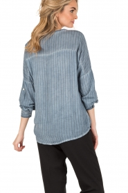 Aaiko | Lace-up blouse Cica | blauw  | Afbeelding 5