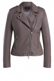 Set |  Leather biker jacket Tyler | grey  | Picture 1