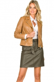 Set |  Leather biker jacket Tyler | brown  | Picture 4