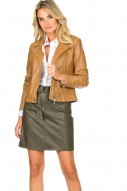 Set |  Leather biker jacket Tyler | brown  | Picture 2