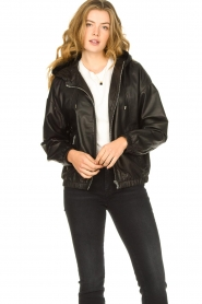Set |  Leather bomber jacket with hoodie Bingo | black  | Picture 4