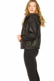Set |  Leather bomber jacket with hoodie Bingo | black  | Picture 5
