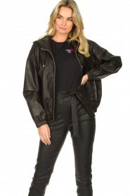 Set |  Leather bomber jacket with hoodie Bingo | black  | Picture 2
