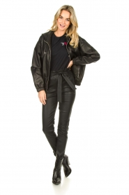 Set |  Leather bomber jacket with hoodie Bingo | black  | Picture 3