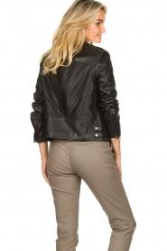 Set |  Leather biker jacket with back details Zoe | black  | Picture 5