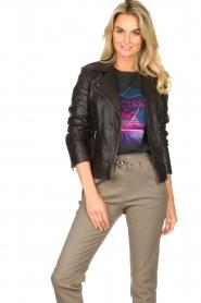 Set |  Leather biker jacket with back details Zoe | black  | Picture 4