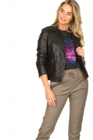 Set |  Leather biker jacket with back details Zoe | black  | Picture 2