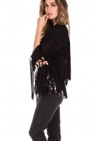 Leather fringe jacket Makkah | black