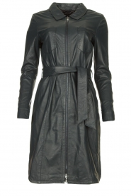 STUDIO AR BY ARMA |  Leather midi dress with waist belt Amada | dark blue  | Picture 1