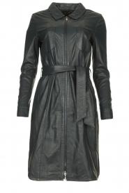 STUDIO AR | Leren midi-jurk met tailleriem Amada | donkerblauw  | Afbeelding 1