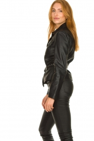 STUDIO AR BY ARMA |  Leather blouse jacket Aimy | black  | Picture 4