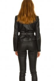 STUDIO AR BY ARMA |  Leather blouse jacket Aimy | black  | Picture 5