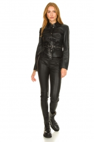 STUDIO AR BY ARMA |  Leather blouse jacket Aimy | black  | Picture 3
