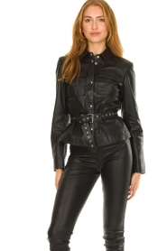 STUDIO AR BY ARMA |  Leather blouse jacket Aimy | black  | Picture 2