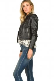 STUDIO AR BY ARMA |  Short leather biker jacket Gaga | black  | Picture 5