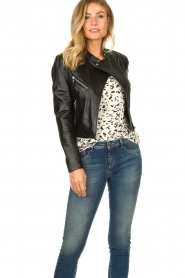 STUDIO AR BY ARMA |  Short leather biker jacket Gaga | black  | Picture 4