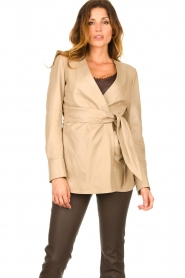 STUDIO AR BY ARMA |  Leather wrap top Hope | beige  | Picture 2