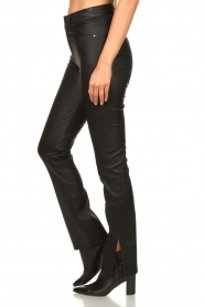 STUDIO AR BY ARMA :  Leather pants with side split Evita | black - img5