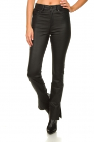 STUDIO AR BY ARMA :  Leather pants with side split Evita | black - img4