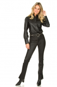 STUDIO AR BY ARMA :  Leather pants with side split Evita | black - img2