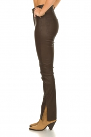 STUDIO AR BY ARMA |  Leather pants with side split Evita | brown  | Picture 5