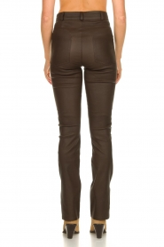 STUDIO AR BY ARMA |  Leather pants with side split Evita | brown  | Picture 6